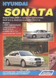 Hyundai Sonata IV. Модели 2001-2006 гг выпуска с двигателями G4JP (2,0л), G4JS (2,4 л) и G6BA (V6 2,7 л). Модели 2004-2012 гг. выпуска с двигателями G4JP (2,0 л), G4GC (2,0л), G6BA (V6 2,7л) производства ТагАЗ. Руководство по ремонту и техническому обслуж