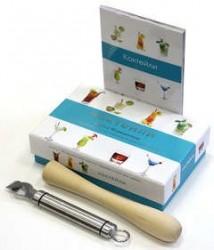 Коктейли. Книга с 30 рецептами, Деревянный пестик-мадлер и нож для цедры (подарочный набор)